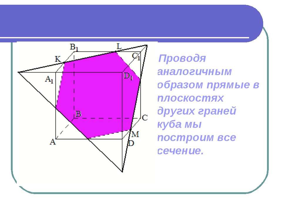 Проводя аналогичным образом прямые в плоскостях других граней куба мы построи...
