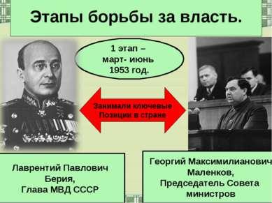 Этапы борьбы за власть. 1 этап – март- июнь 1953 год. Георгий Максимилианович...