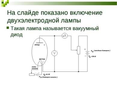 На слайде показано включение двухэлектродной лампы Такая лампа называется вак...