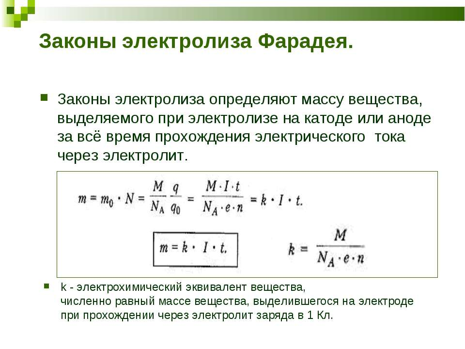 Законы электролиза Фарадея. Законы электролиза определяют массу вещества, выд...