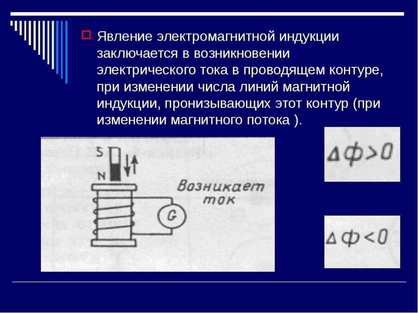 Явление электромагнитной индукции заключается в возникновении электрического ...