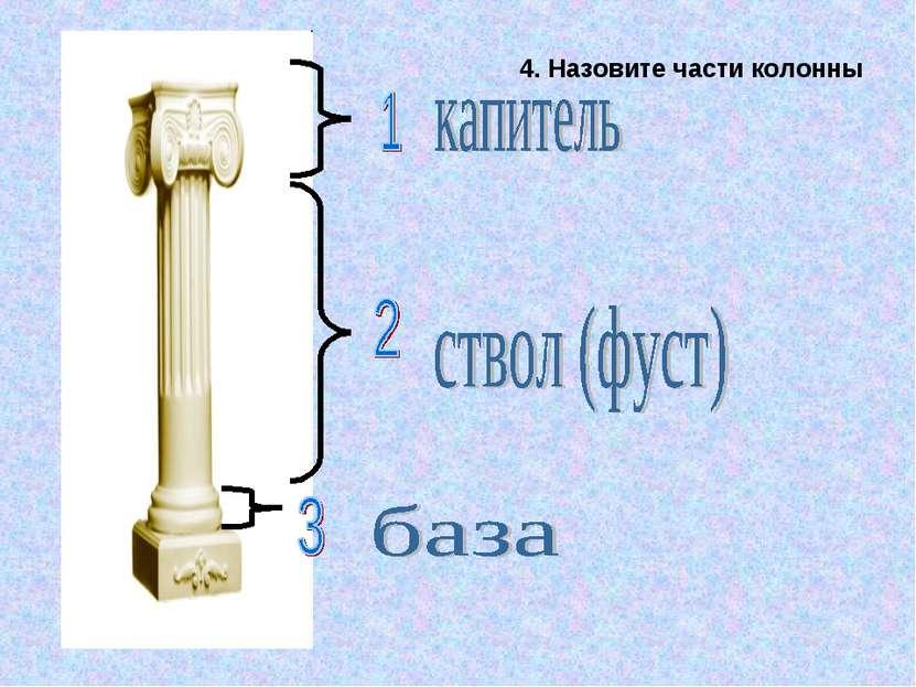 4. Назовите части колонны