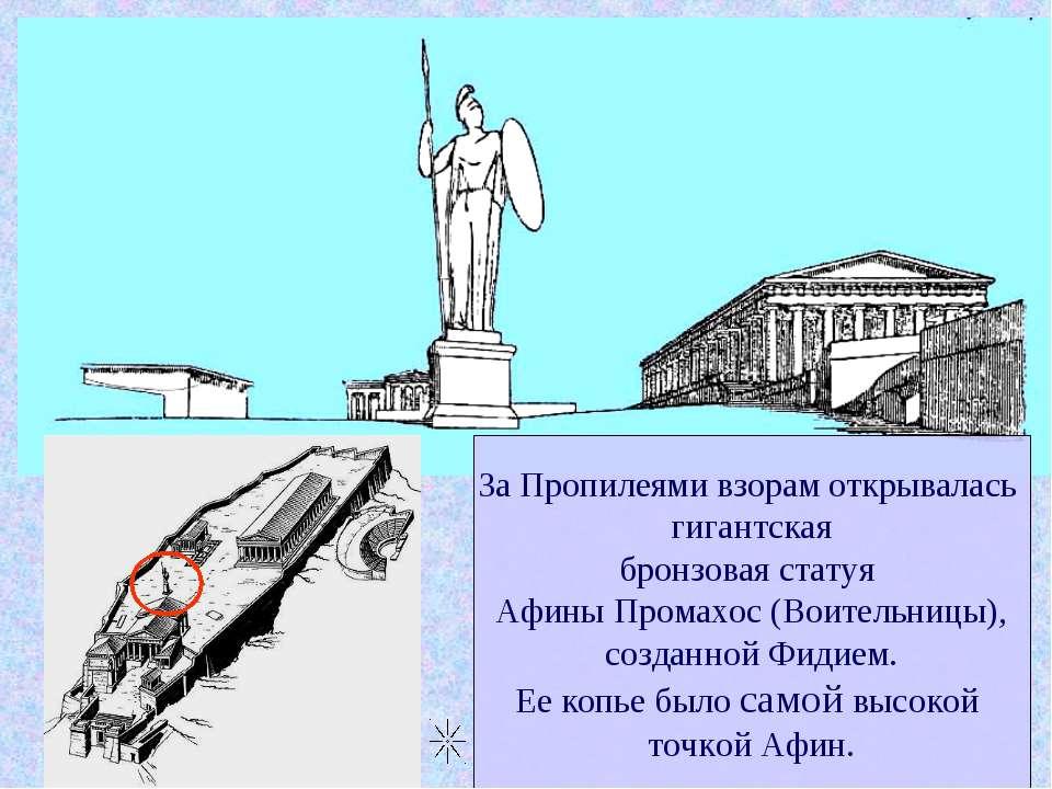 За Пропилеями взорам открывалась гигантская бронзовая статуя Афины Промахос (...