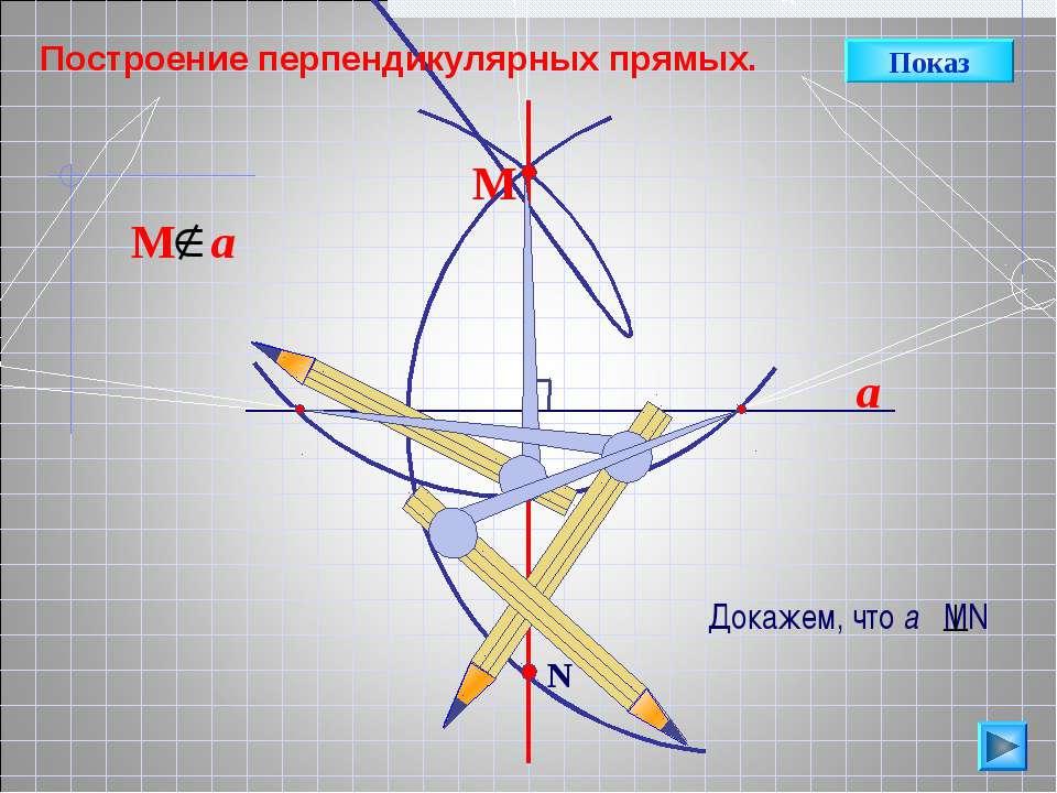 a N М Построение перпендикулярных прямых. Показ