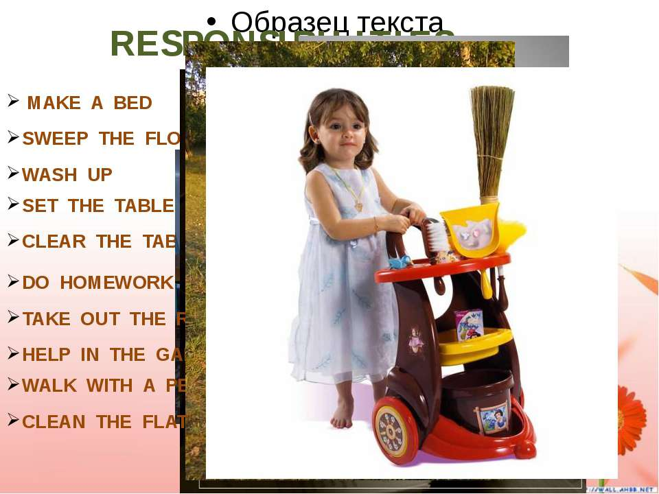 RESPONSIBILITIES. MAKE A BED SWEEP THE FLOOR WASH UP SET THE TABLE CLEAR THE ...