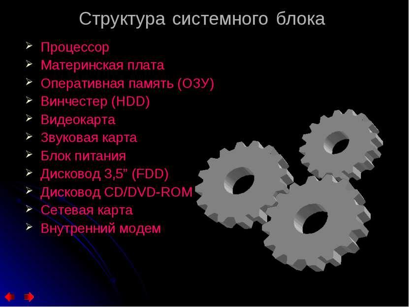 Структура системного блока Процессор Материнская плата Оперативная память (ОЗ...