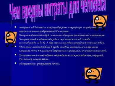 Нитраты под действием нитратредуктазы микрофлоры пищеварительного тракта част...