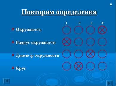 Повторим определения Окружность Радиус окружности Диаметр окружности Круг 6
