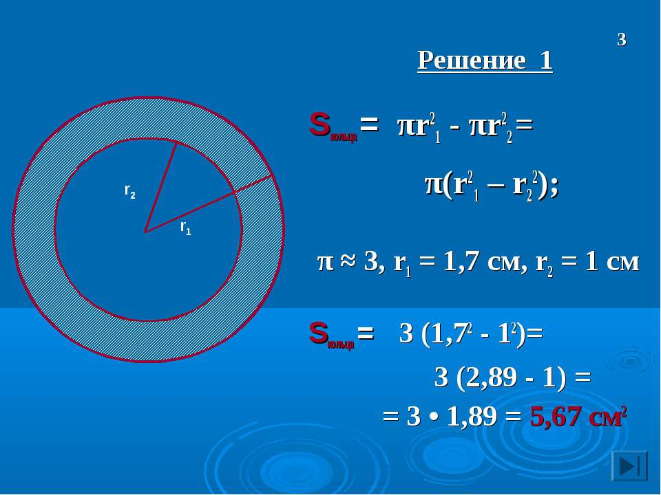 Решение 1 Sкольца = πr21 - πr22 = π(r21 – r22); π ≈ 3, r1 = 1,7 см, r2 = 1 см...