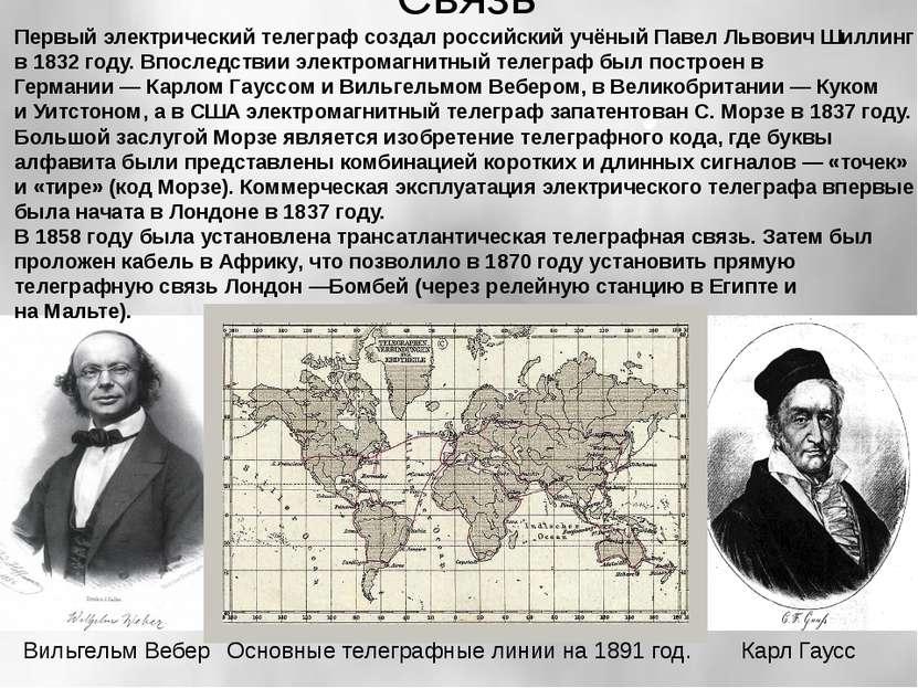 Связь Первыйэлектрический телеграфсоздал российский учёныйПавел Львович Ши...