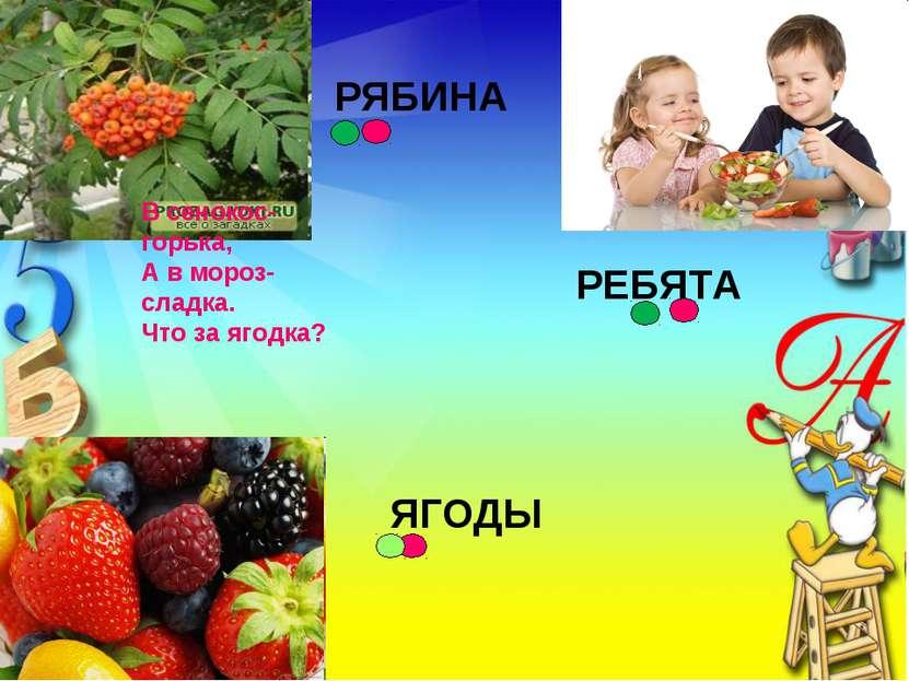 В сенокос-горька, А в мороз-сладка. Что за ягодка? РЯБИНА РЕБЯТА ЯГОДЫ