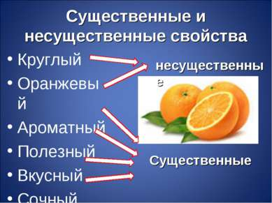 Существенные и несущественные свойства Круглый Оранжевый Ароматный Полезный В...