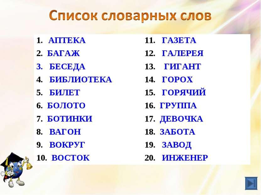АПТЕКА 11. ГАЗЕТА 2. БАГАЖ 12. ГАЛЕРЕЯ БЕСЕДА 13. ГИГАНТ 4. БИБЛИОТЕКА 14. ГО...