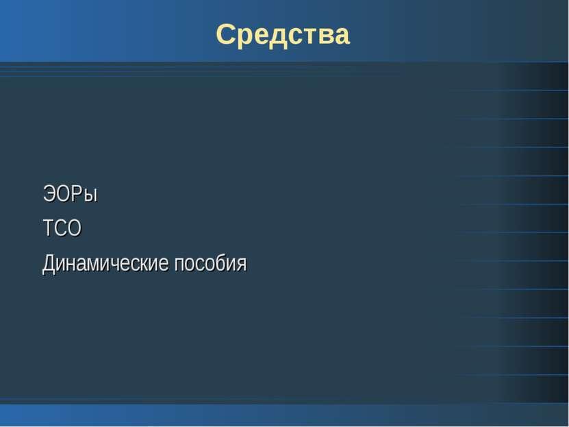 Средства ЭОРы ТСО Динамические пособия