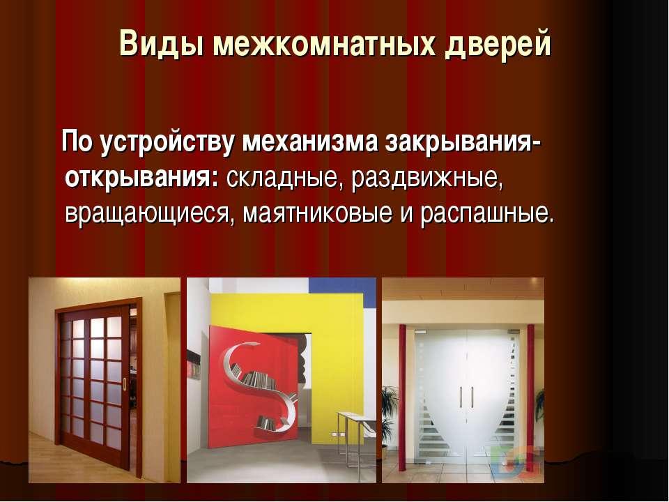 Виды межкомнатных дверей По устройству механизма закрывания-открывания: склад...
