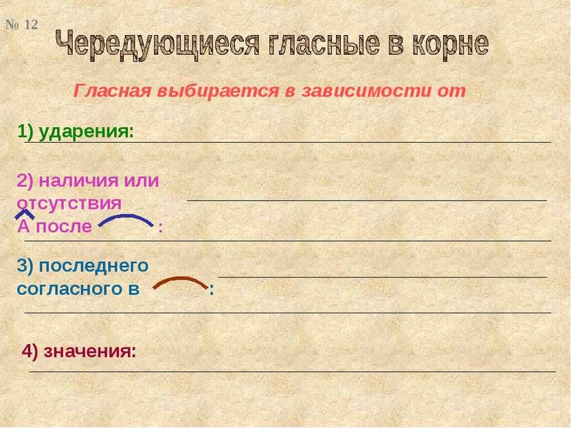 Гласная выбирается в зависимости от 2) наличия или отсутствия А после : 1) уд...