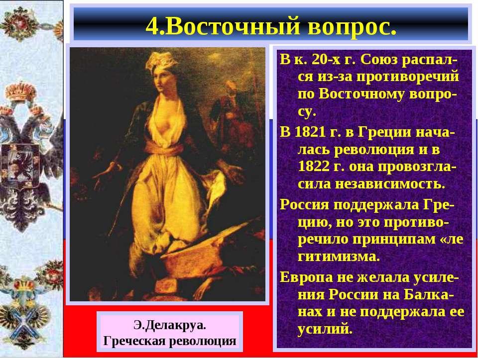 В к. 20-х г. Союз распал-ся из-за противоречий по Восточному вопро-су. В 1821...