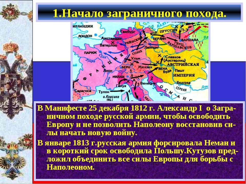 В Манифесте 25 декабря 1812 г. Александр I о Загра-ничном походе русской арми...