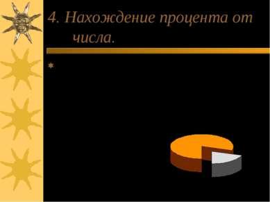 4. Нахождение процента от числа. Чтобы найти процент от числа, надо это число...