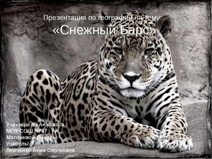 Презентация по географии на тему: «Снежный Барс» Ученицы 8 «А» класса МОУ СОШ...