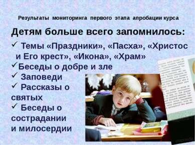 Результаты мониторинга первого этапа апробации курса Детям больше всего запом...