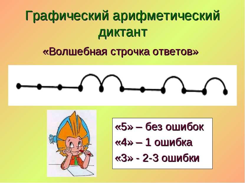«Волшебная строчка ответов» Графический арифметический диктант «5» – без ошиб...