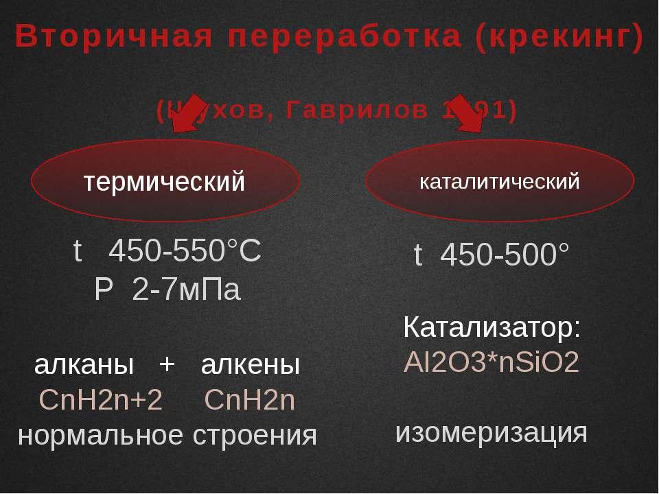 Вторичная переработка (крекинг) (Шухов, Гаврилов 1891) термический каталитиче...