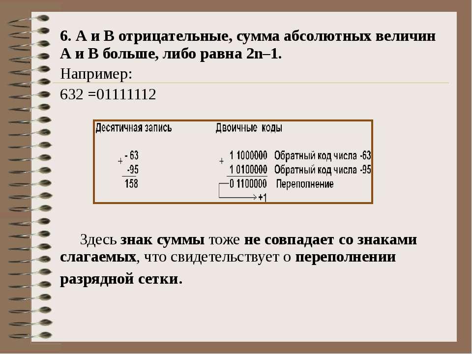 6. А и В отрицательные, сумма абсолютных величин А и В больше, либо равна 2n–...