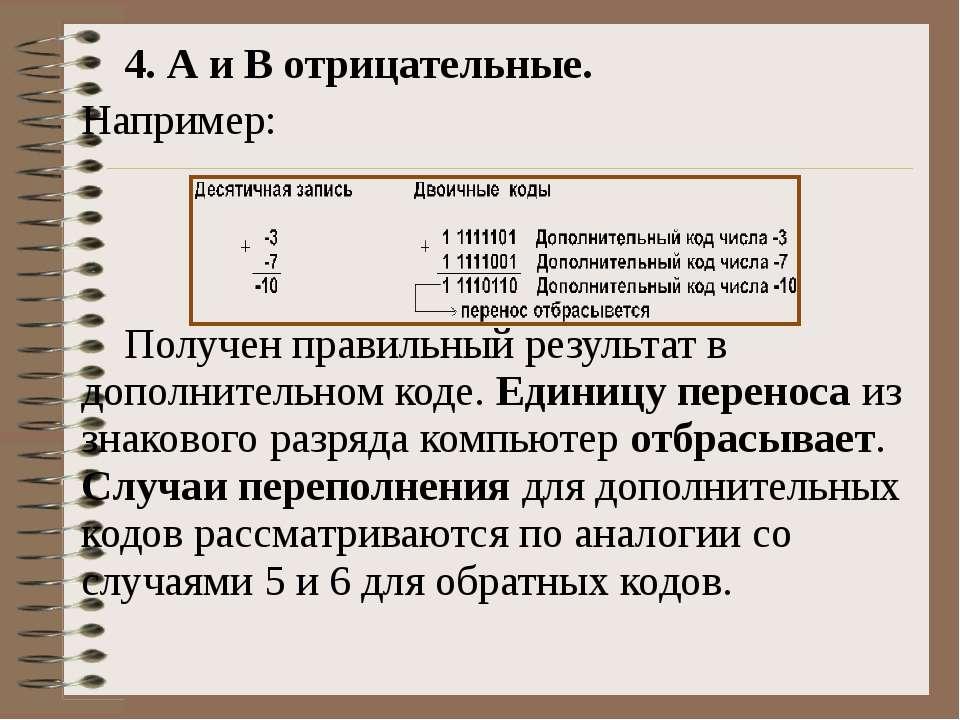 4. А и В отрицательные. Например: Получен правильный результат в дополнительн...