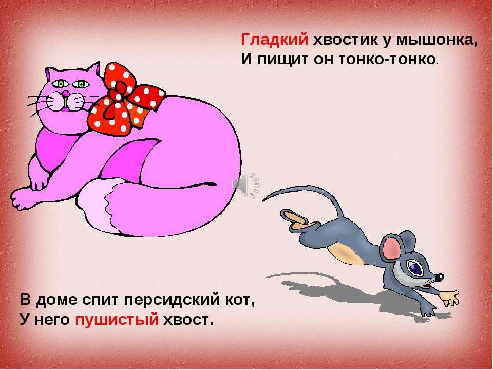 В доме спит персидский кот, У него пушистый хвост. Гладкий хвостик у мышонка,...