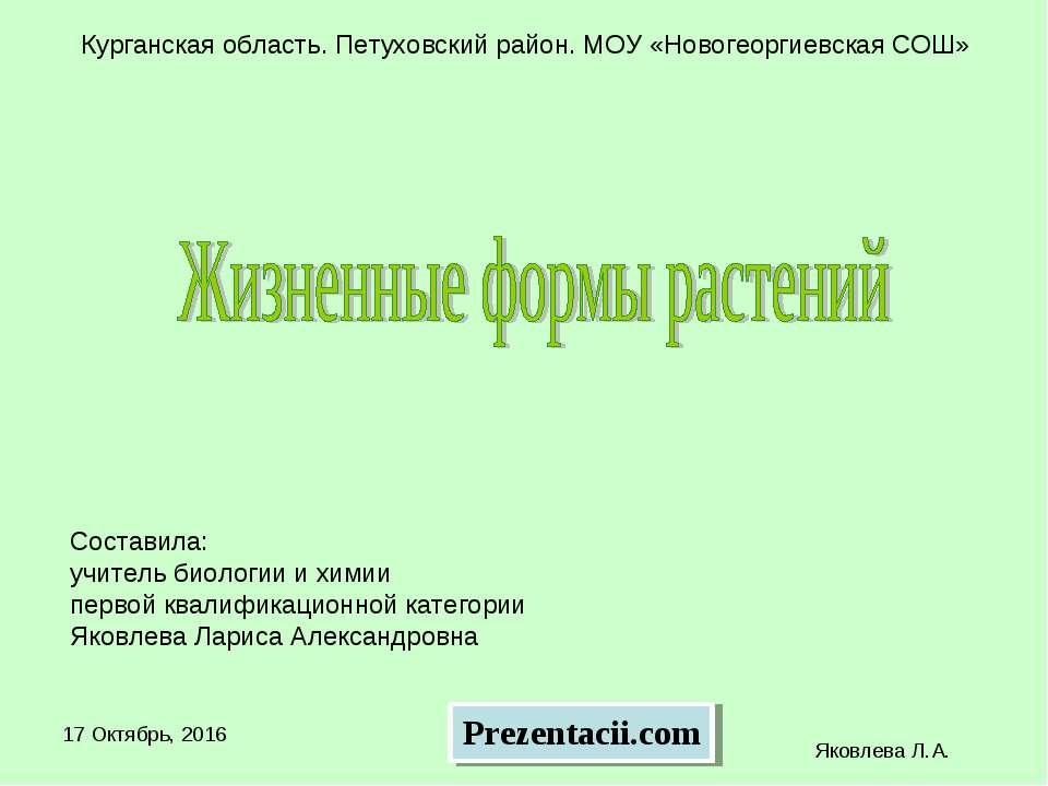 * Яковлева Л.А. Курганская область. Петуховский район. МОУ «Новогеоргиевская ...