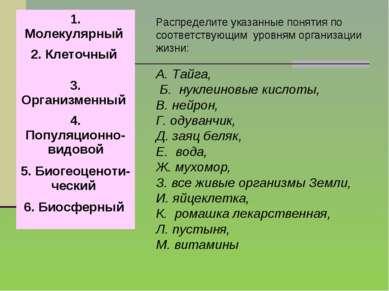 Распределите указанные понятия по соответствующим уровням организации жизни: ...