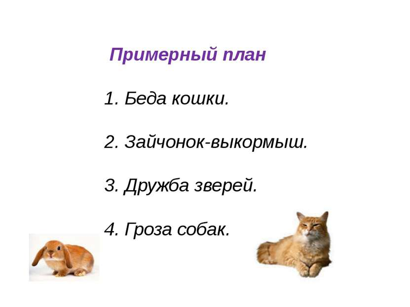 Примерный план 1. Беда кошки. 2. Зайчонок-выкормыш. 3. Дружба зверей. 4. Гроз...