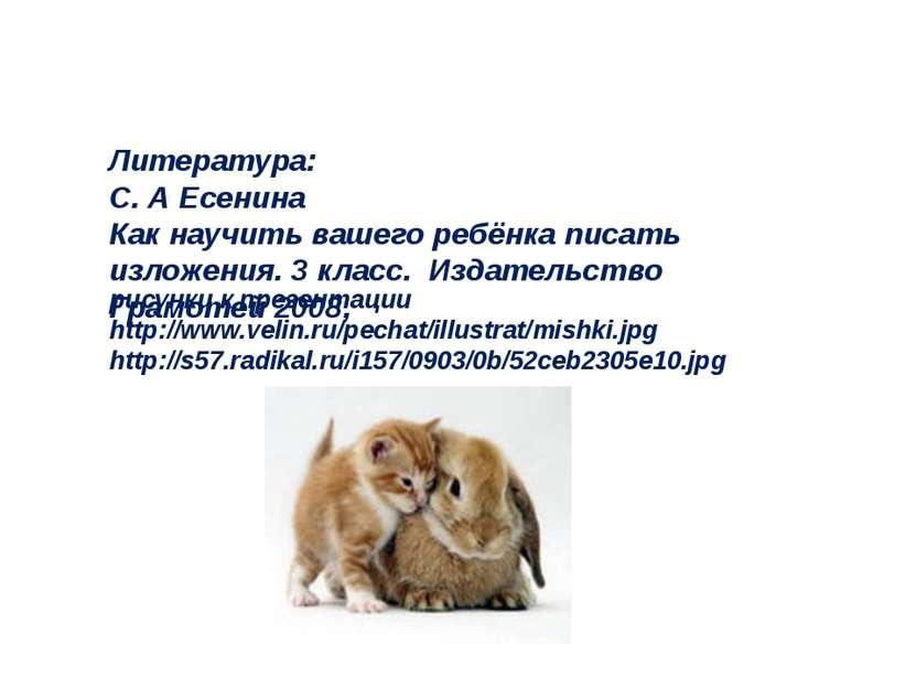 Литература: С. А Есенина Как научить вашего ребёнка писать изложения. 3 класс...