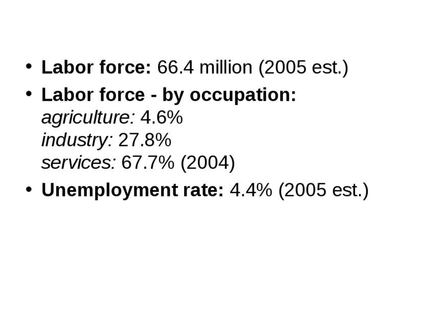 Labor force: 66.4 million (2005 est.) Labor force - by occupation: agricultur...