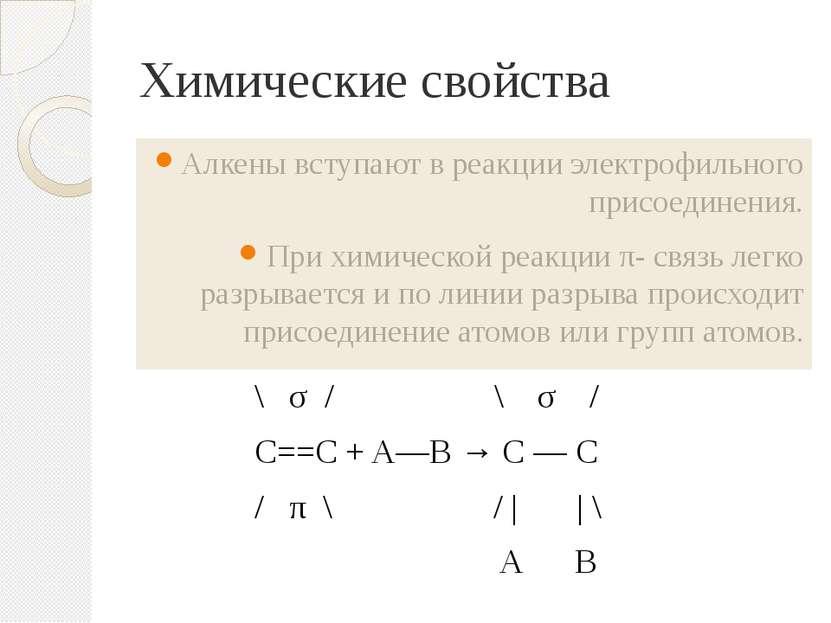Химические свойства \ σ / \ σ / C==C + A—B → C — C / π \ / | | \ А В Алкены в...