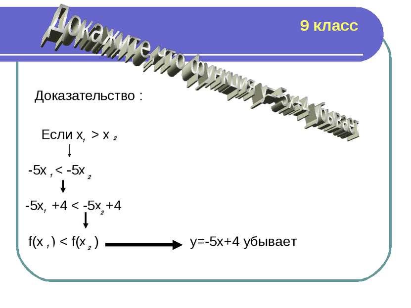 Доказательство : Если х > x -5x < -5x -5x +4 < -5x +4 f(x ) < f(x ) y=-5x+4 у...