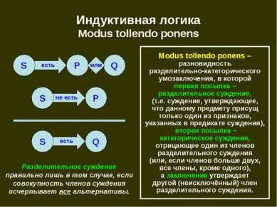есть не есть есть Индуктивная логика Modus tollendo ponens S P Q S P S Q Modu...
