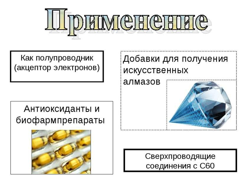 Как полупроводник (акцептор электронов) Добавки для получения искусственных а...