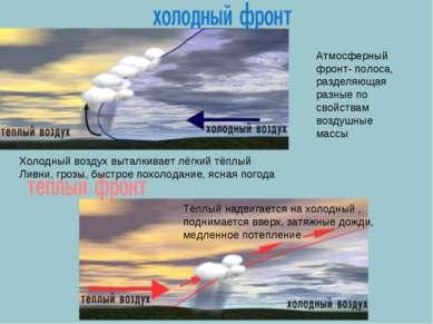 Атмосферный фронт- полоса, разделяющая разные по свойствам воздушные массы Хо...