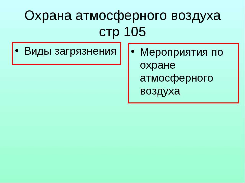 Охрана атмосферного воздуха стр 105 Виды загрязнения Мероприятия по охране ат...