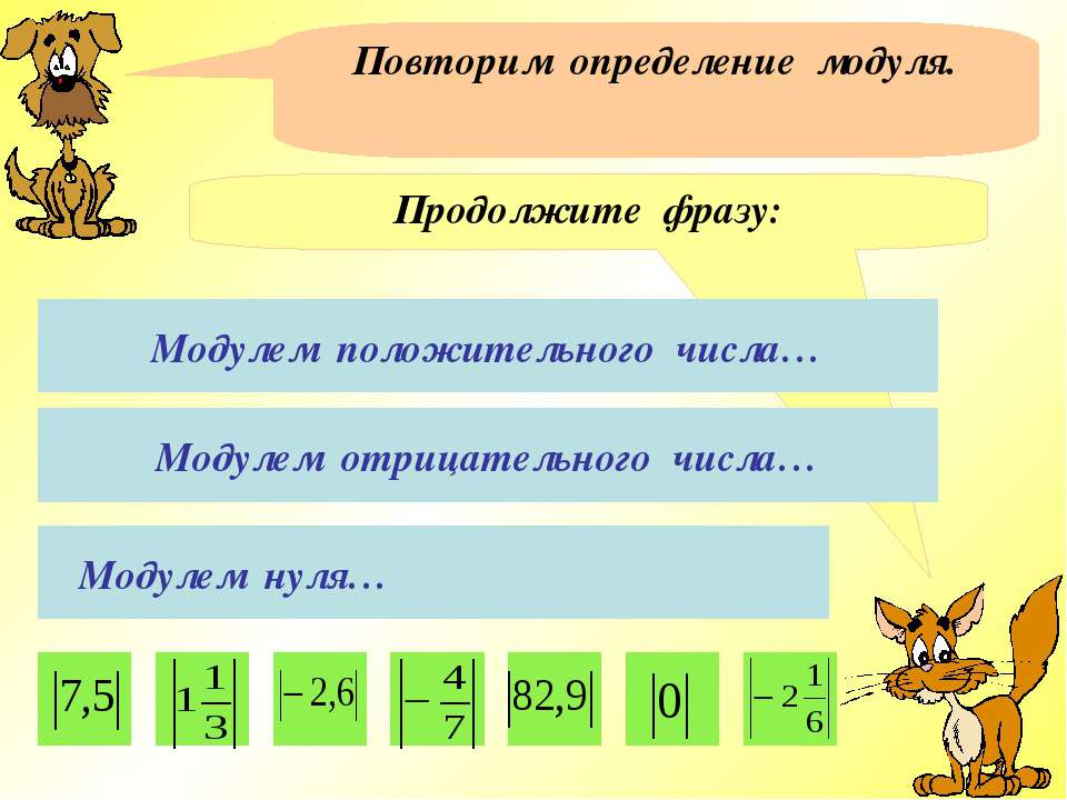 Повторим определение модуля. Продолжите фразу: Модулем положительного числа… ...