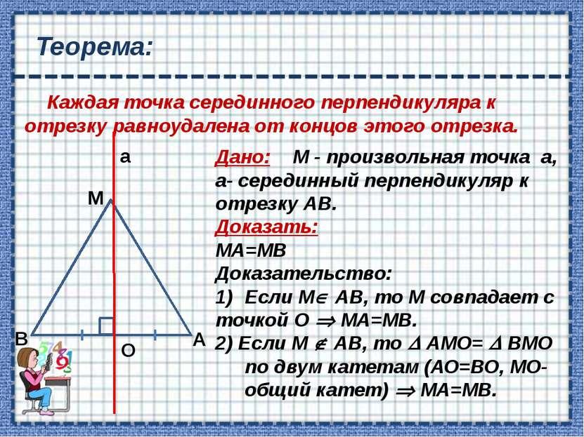 Следствие: Серединные перпендикуляры к сторонам треугольника пересекаются в о...