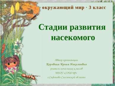 Стадии развития насекомого Автор презентации Коровина Ирина Николаевна учител...