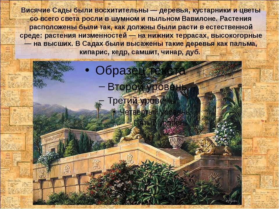 Висячие Сады были восхитительны — деревья, кустарники и цветы со всего света ...