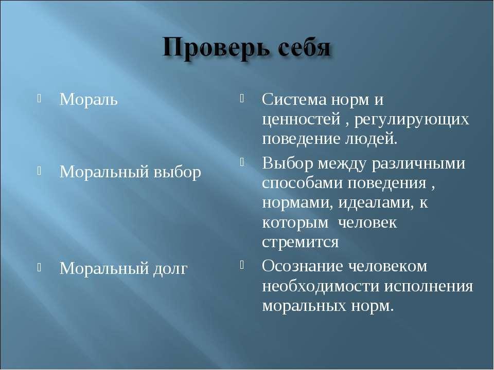 Мораль Моральный выбор Моральный долг Система норм и ценностей , регулирующих...