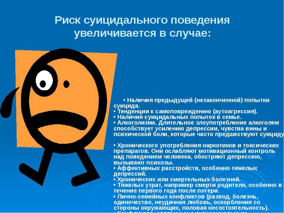 Риск суицидального поведения увеличивается в случае: • Наличия предыдущей (не...