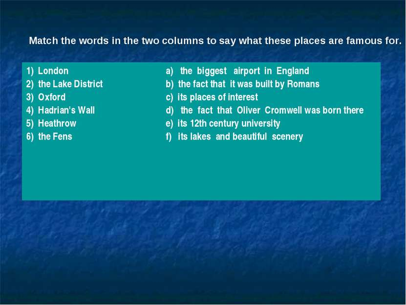 Match the words in the two columns to say what these places are famous for. 1...