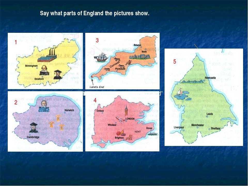 "1 Say what parts of England the pictures show. 1 2 3 4 5 the text ""Discover B..."