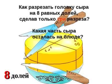 2 доли 4 Какая часть сыра осталась на блюде? Как разрезать головку сыра на 8 ...